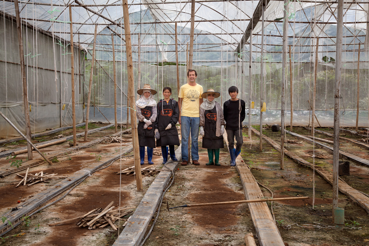 Menno K, 40, was the first person to import soil of tomatoes in Thailand .